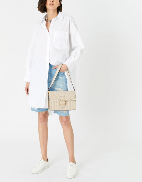 Annie Quilted Shoulder Bag Cream, Cream (CREAM), large