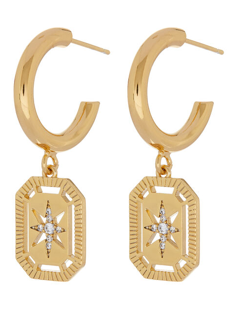Gold-Plated Star Charm Large Hoops, , large