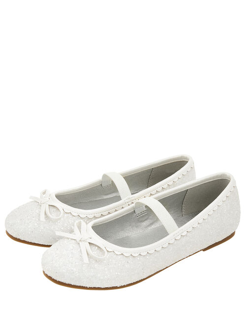 Sparkle Bow Scalloped Ballet Flats, Natural (IVORY), large