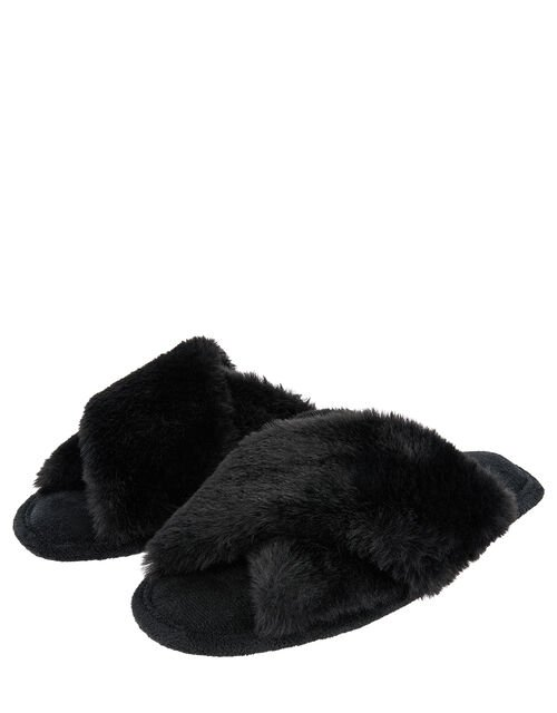 Fluffy Peep-Toe Slipper Sliders, Black (BLACK), large