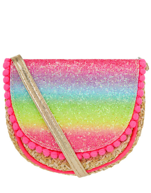 Rainbow Glitter Straw Cross-Body Bag, , large