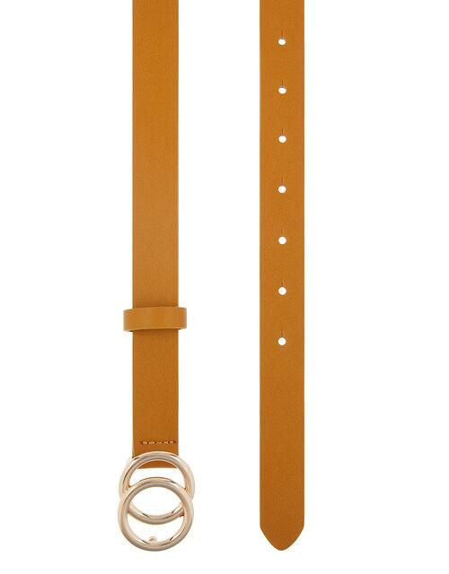 Double Hoop Buckle Belt, Yellow (YELLOW), large