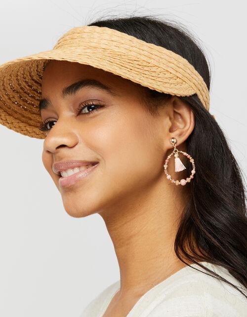 Tassel Beaded Hoop Drop Earrings, , large