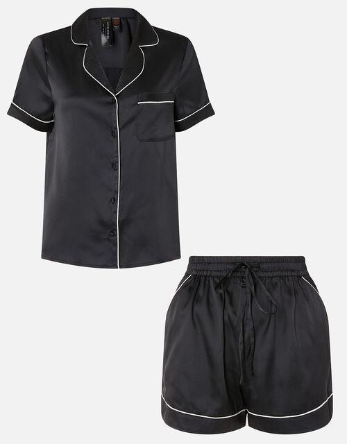 Satin Shirt and Shorts Pyjama Set, Black (BLACK), large