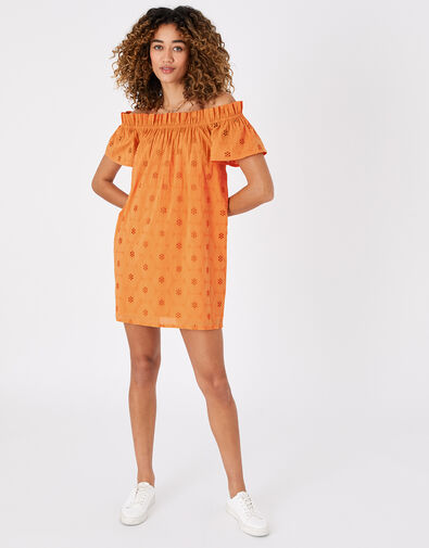 Schiffli Bardot Dress in Organic Cotton Orange, Orange (ORANGE), large