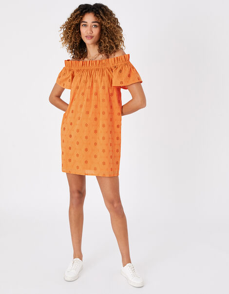 Schiffli Bardot Dress in Organic Cotton Orange, Orange (ORANGE), large
