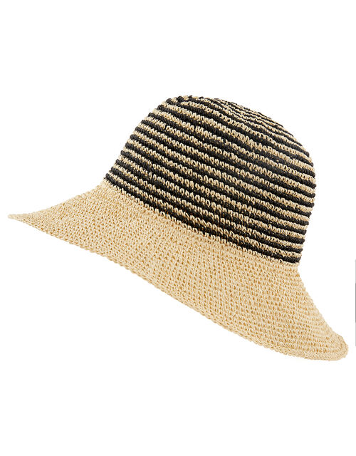 Striped Straw Bucket Hat, , large