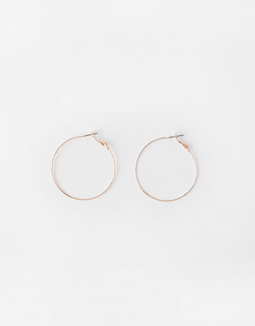 Fine Facet Hoop Earrings, Gold (ROSE GOLD), large