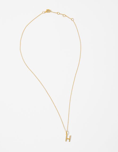 Gold Vermeil Initial Pendant Necklace - H, , large