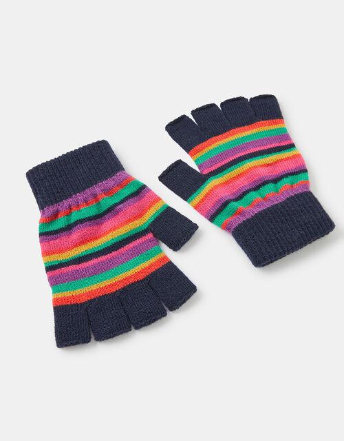 Stripe Fingerless Knit Gloves, Multi (BRIGHTS-MULTI), large