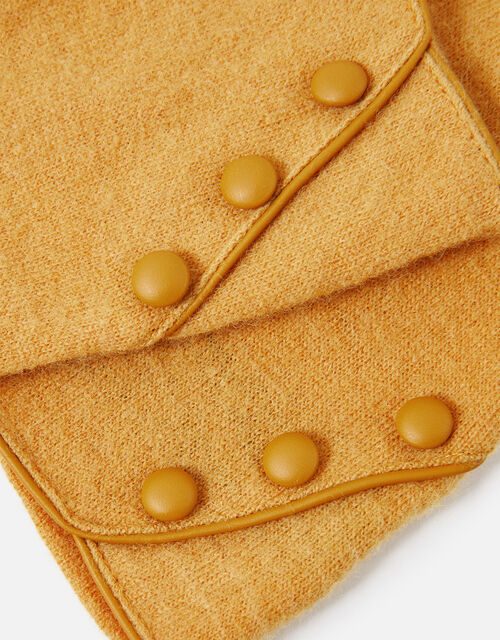 Button Gloves in Wool Blend, Yellow (OCHRE), large
