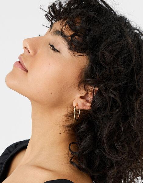 Mixed Metal Twist Hoop Earring Set, , large