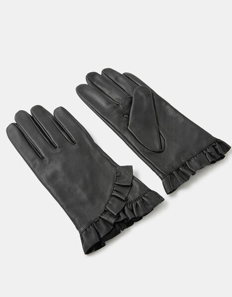 Frill Trim Leather Gloves Black, Black (BLACK), large
