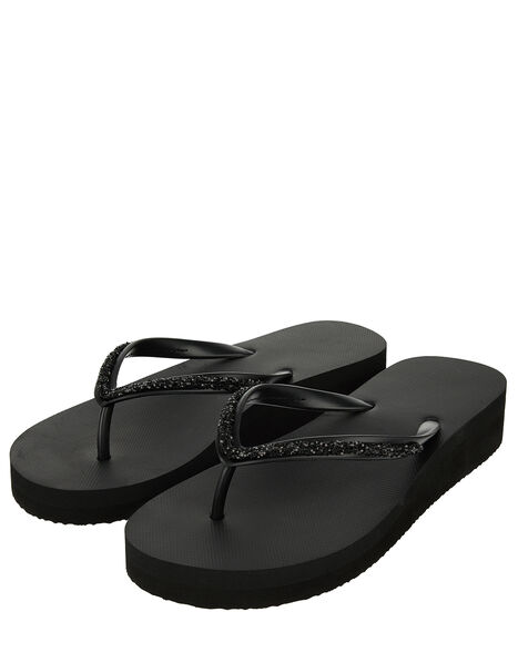 Eva Glitter Wedge Flip Flops Black, Black (BLACK), large