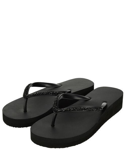 Eva Glitter Wedge Flip Flops, Black (BLACK), large