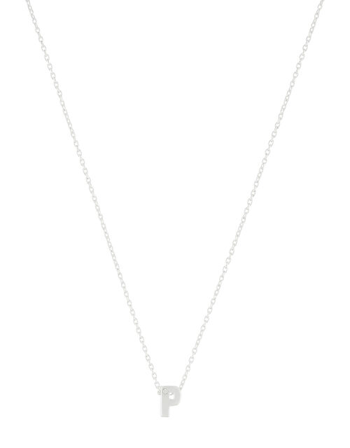 Sterling Silver Sparkle Initial Necklace - P, , large