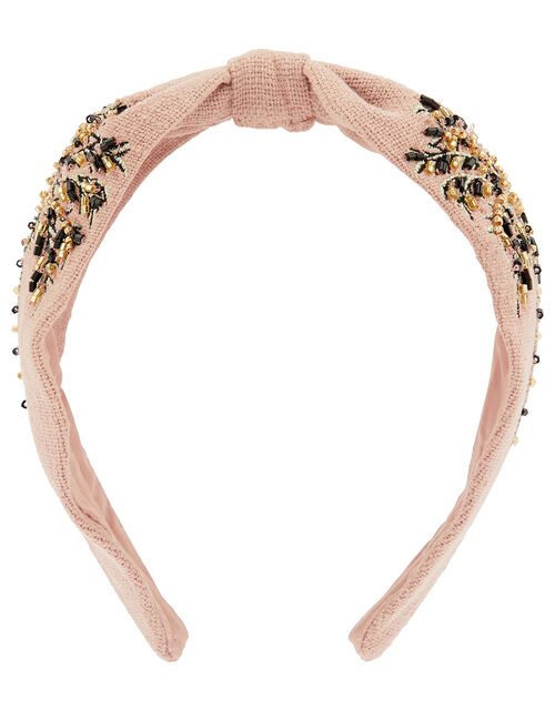 Beaded Palm Tree Wide Knot Headband, , large