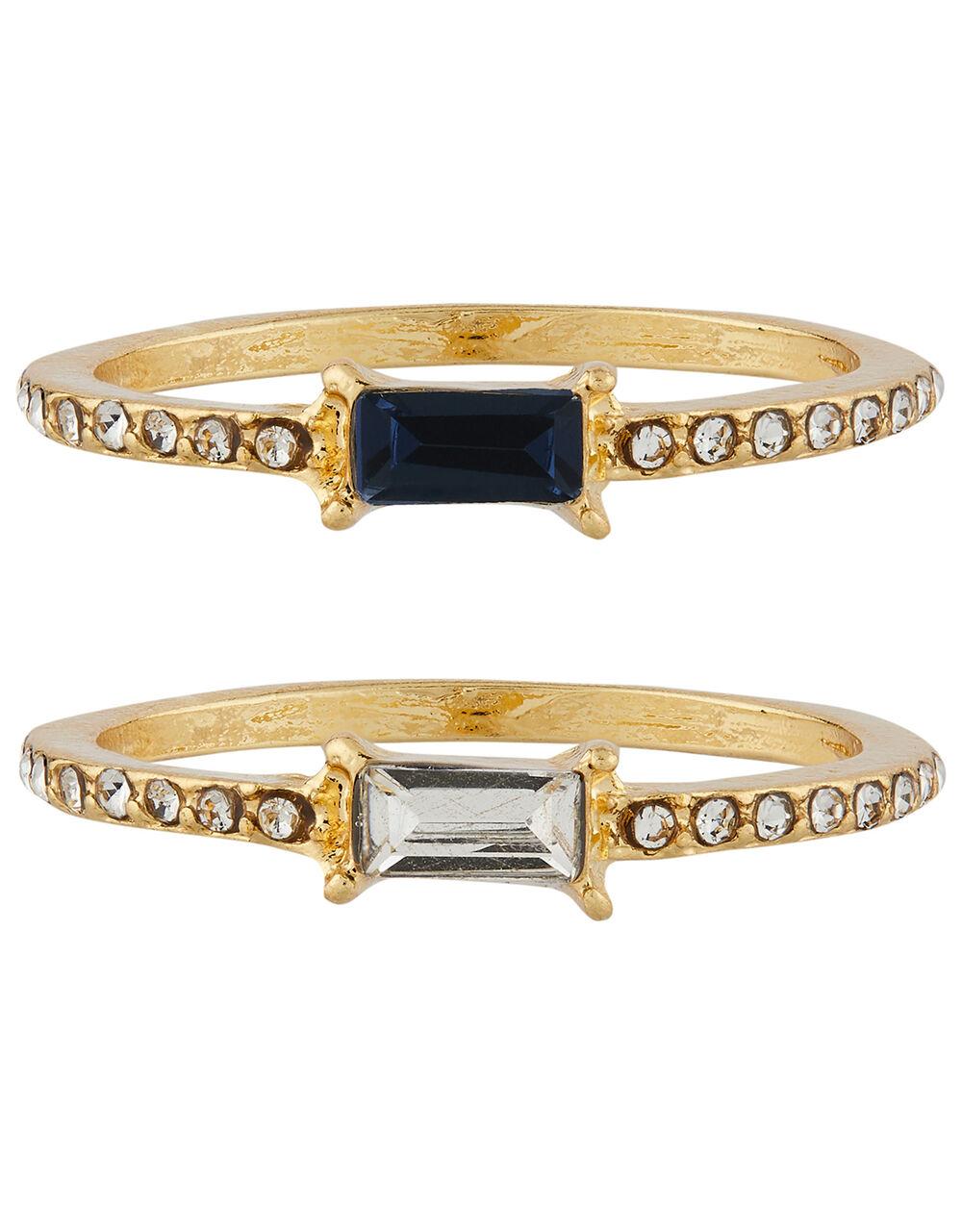 Baguette Gem Stacking Ring Set, Multi (ASSORTED), large