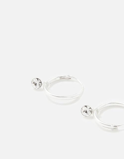 Sterling Silver Swarovski® Hoop Earrings, , large