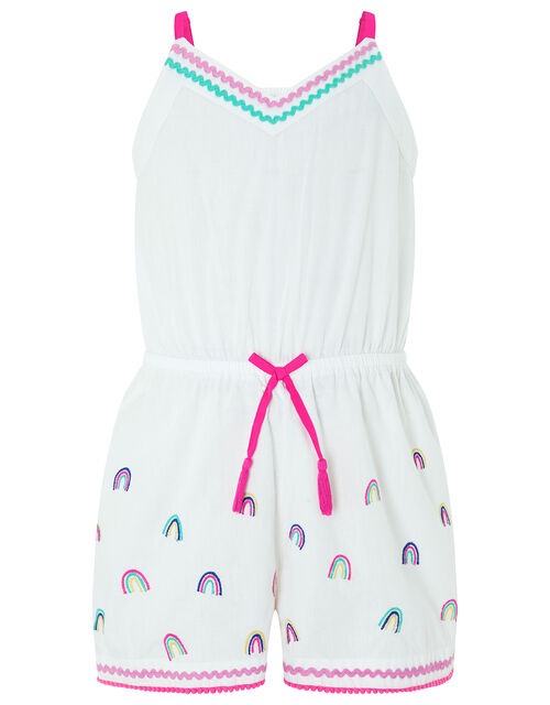 Embroidered Cotton Rainbow Playsuit, White (WHITE), large