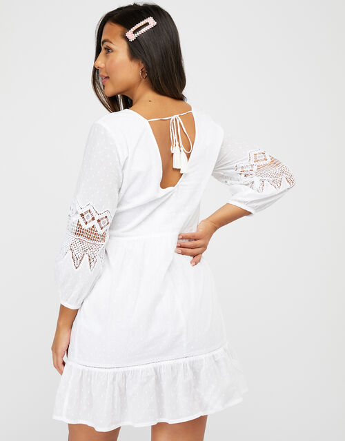 Lace Insert Smock Dress in Organic Cotton, White (WHITE), large