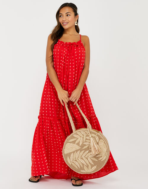 High Neck Maxi Dress in Pure Cotton, Red (RED), large