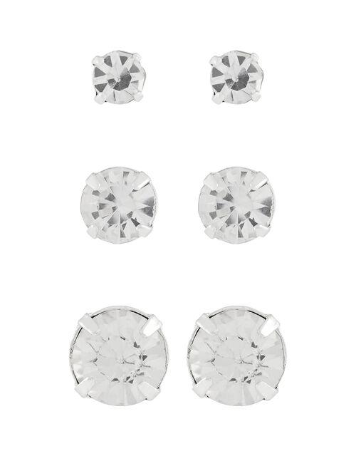 Multi-Size Crystal  Stud Earring Set, , large