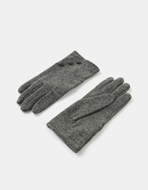 Button Gloves in Wool Blend, Grey (GREY), large