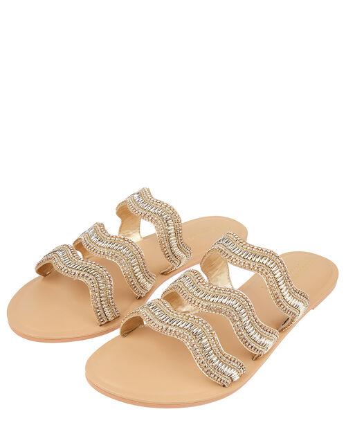 Fiji Beaded Sandals, Gold (GOLD), large