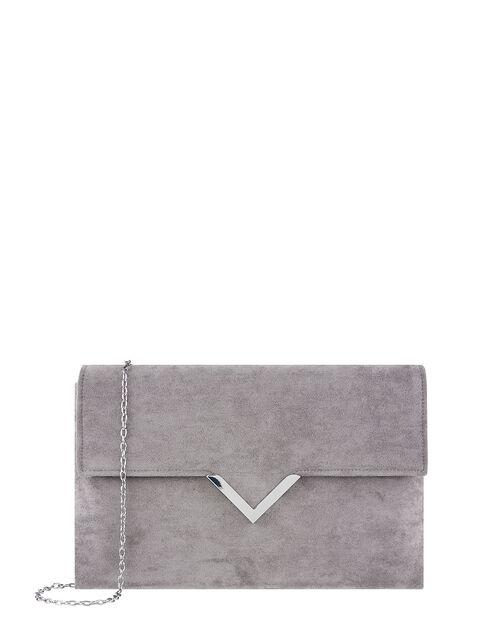 Natalie Suedette Clutch Bag, Grey (GREY), large