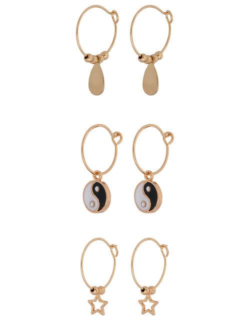 Yin and Yang Mini Hoop Earring Set, , large