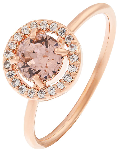 Rose Gold-Plated Halo Ring  with Swarovski® Crystals, Gold (ROSE GOLD), large