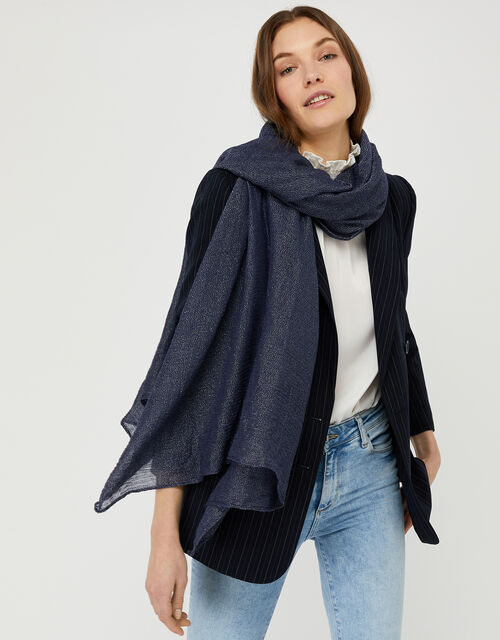Metallic Lightweight Scarf, Blue (NAVY), large