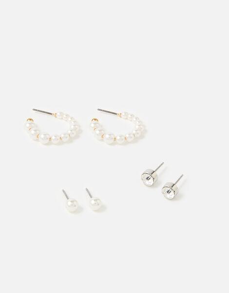 Pearl Hoop Earring Set , , large