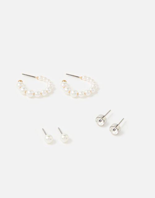 Pearl Hoop Earring Set , , large