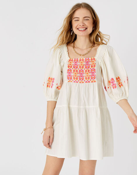 Embroidered Dress in Pure Cotton Multi, Multi (BRIGHTS-MULTI), large