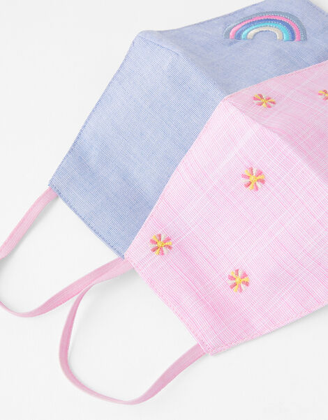 Kids Embroidered Face Covering Set in Pure Cotton, , large