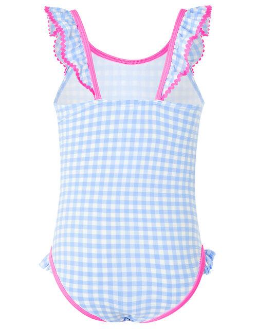 Gingham Swimsuit, Blue (BLUE), large