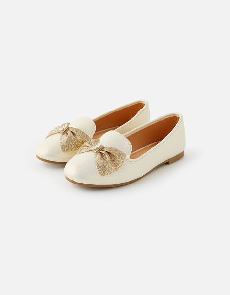 Pearly Glitter Bow Shoes Natural, Natural (IVORY), large