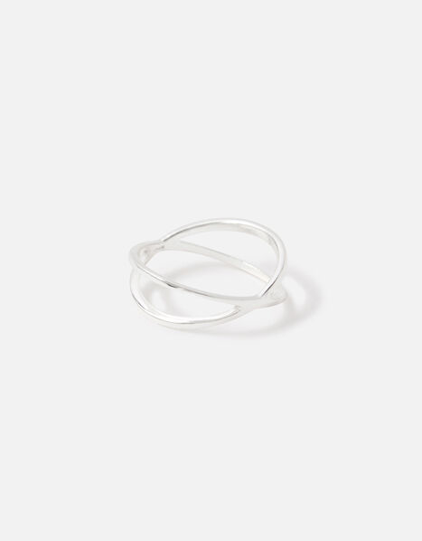 Sterling Silver Crossover Ring Silver, Silver (ST SILVER), large