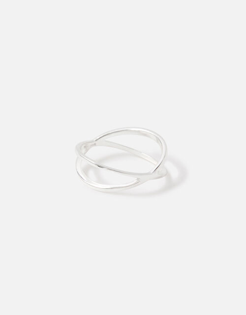 Sterling Silver Crossover Ring, Silver (ST SILVER), large