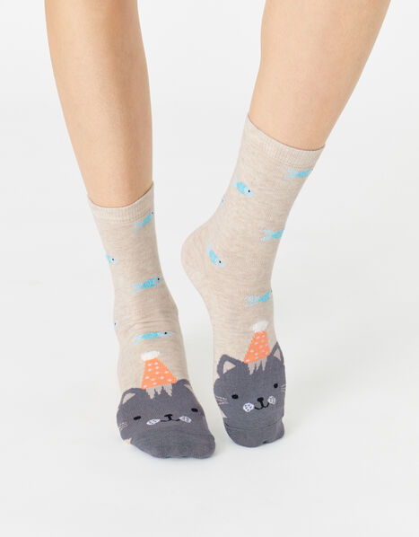 Party Hat Cat Socks , , large