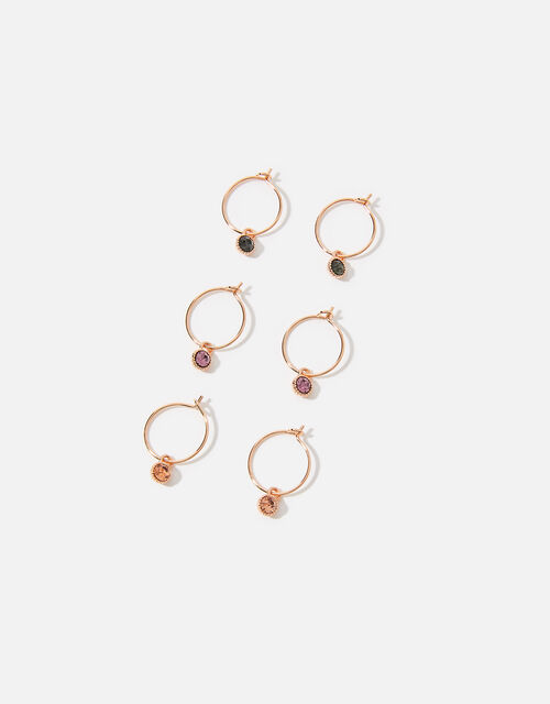 Rose Gold-Plated Gem Hoop Set, , large