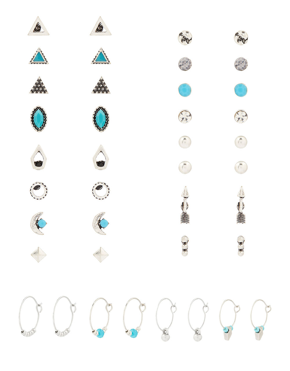 Ethnic Turquoise Stud and Hoop Earring Multipack, , large