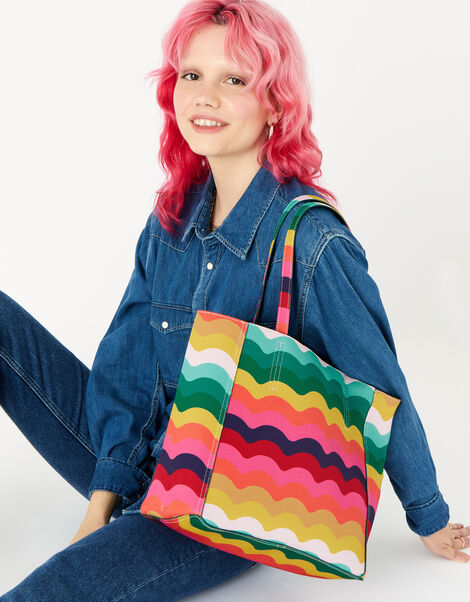 Reversible Rainbow Tote Bag with Pouch, , large