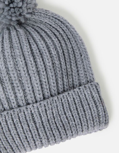 Chunky Knit Pom-Pom Beanie Hat, Grey (LIGHT GREY), large