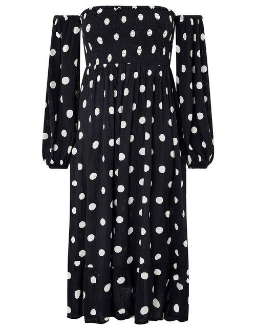 Polka-Dot Puff Sleeve Midi Dress, Black (BLACK/WHITE), large