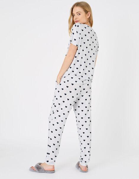 Heart Print Pyjama Set Grey, Grey (GREY), large