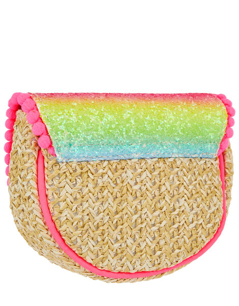 Rainbow Glitter Straw Cross-Body Bag, , large