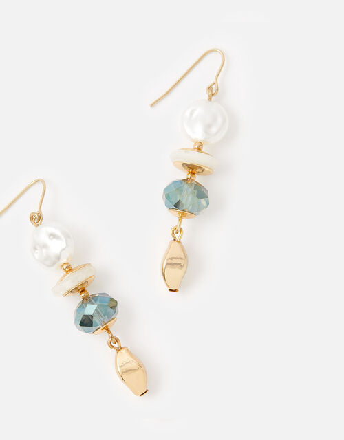 Pearl and Facet Bead Drop Earrings, , large